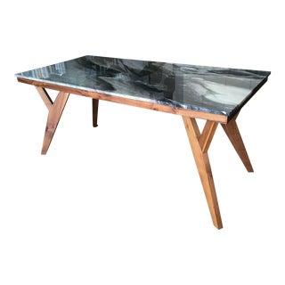 Mid-Century American Marble Top Walnut Table