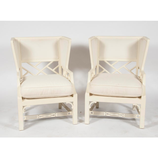 White George III-Style Wing Chairs - A Pair - Image 2 of 3