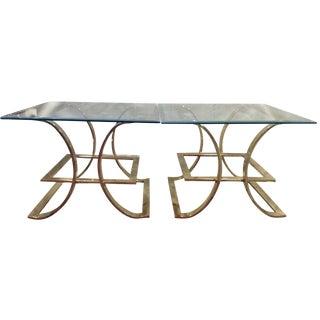 Sculptural Brass & Glass End Tables - A Pair