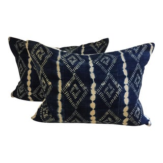 Blue and White African Mod Cloth Pillows by CADO for Biot - A Pair