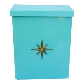 Mid-Centur Modern Turquoise Metal Starburst Emblem Mailbox
