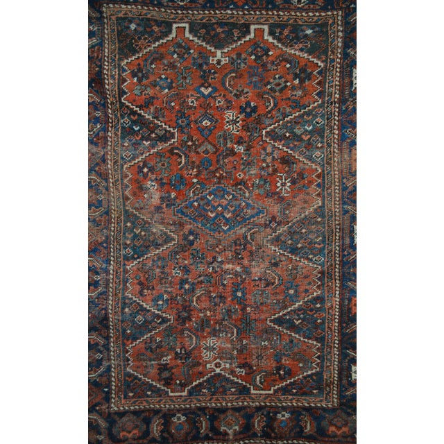 "Distressed Antique Persian Tribal Rug - 3'7"" X 4'9"" - Image 7 of 9"