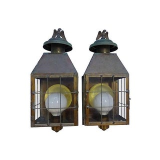 Electrified Metal Lantern Sconces - Pair