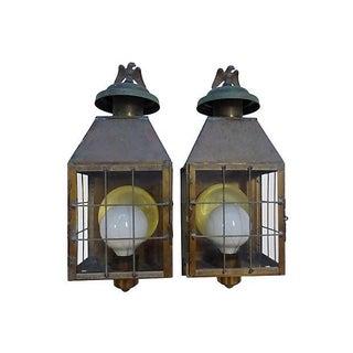 Electrified Metal Lantern Sconces - Pair