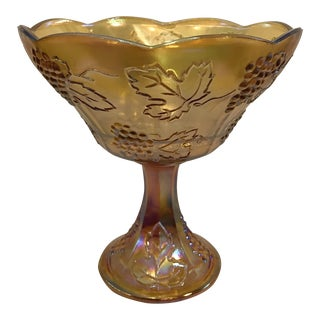Vintage Carnival Glass Amber Wedding Bowl