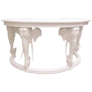Gampel Stoll Hollywood-Regency Style White Lacquered Kidney-Shaped Desk
