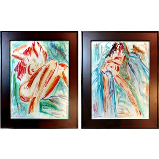Modern Abstract Nude Mixed Media Paintings - Pair