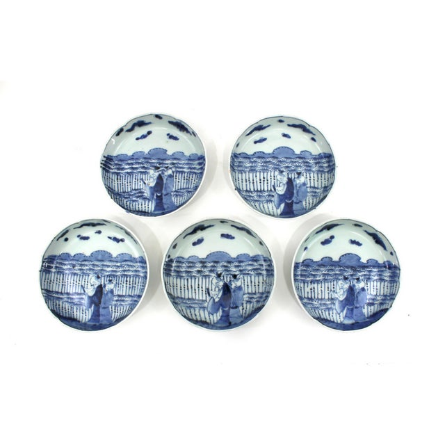1900s Japanese Blue & White Bowls Meiji Period - Image 1 of 5