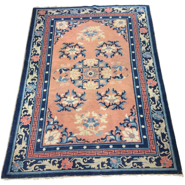 """Art Deco Navy & Coral Chinese Rug - 4'3"""" X 6'3"""" - Image 1 of 6"""