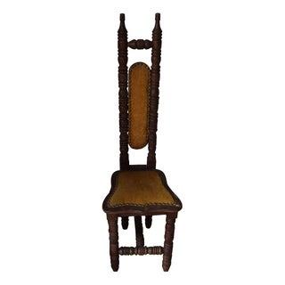 Vintage Mustard Velvet Wooden Chair