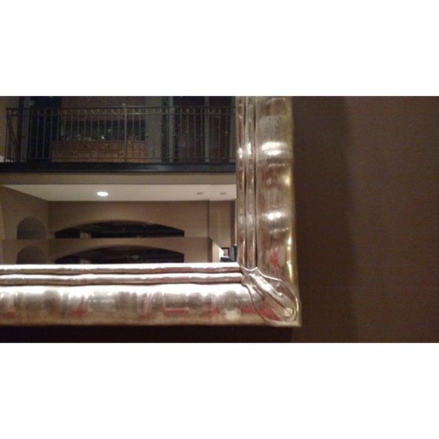 Huge White Gold Wood Mirror, Bevel Antique Finish - Image 5 of 8