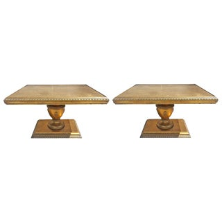 Hollywood Regency Gold Leaf End Tables - A Pair