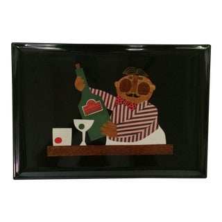 "Vintage ""Bartender Serving Martinis"" Tray by Couroc"