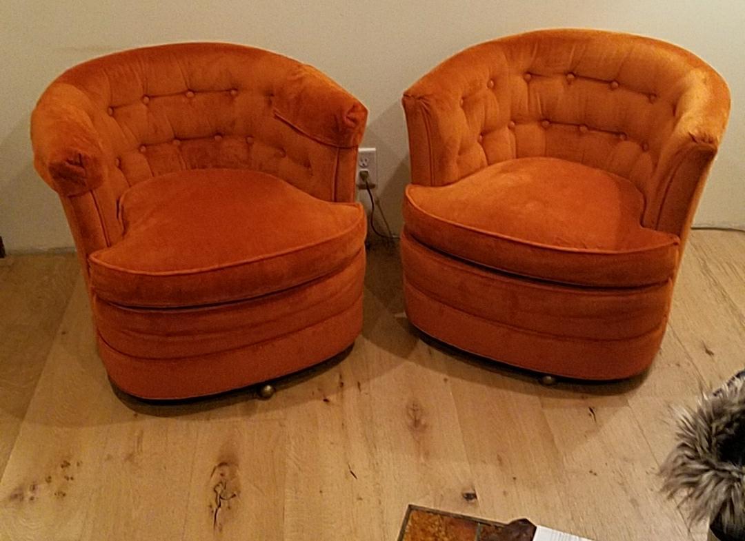 Drexel Heritage Burnt Orange Chairs   A Pair   Image 2 Of 6