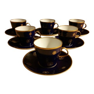 Lichte Fine China East Germany Cobalt Blue Snowflake Cups & Saucers - Set of 6
