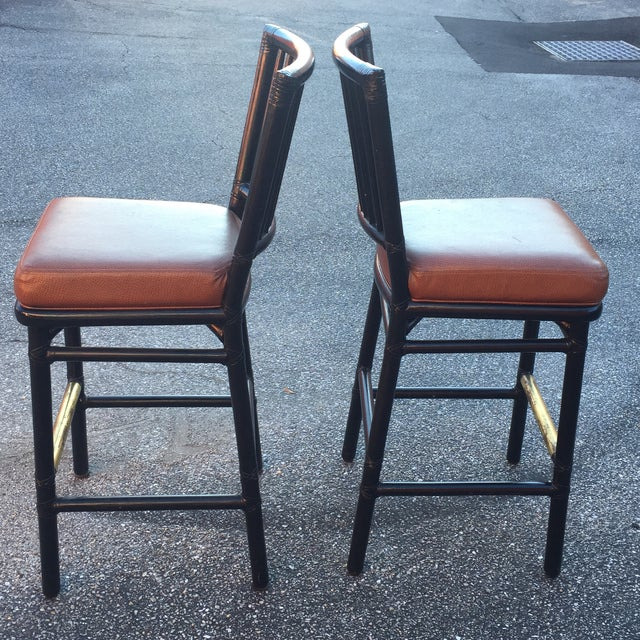 Vintage McGuire Rattan Brass Bar Stools- A Pair - Image 3 of 11