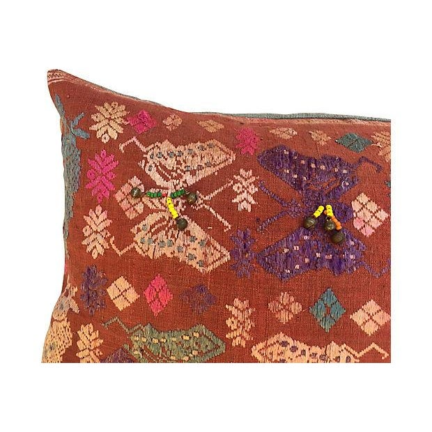 Antique Embroidered Textile Pillow - Image 2 of 8