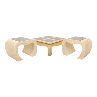 Gabriella Crespi Attri Pencil Bamboo Coffee and End Tables, Set of 3