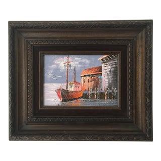 Framed Harbor Scene Oil Painting