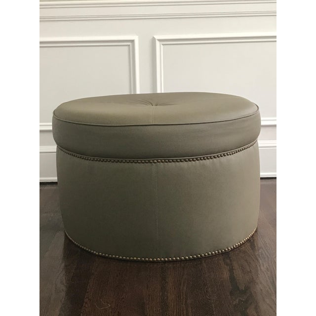 Custom Upholstered Green Leather Ottoman - Image 2 of 5