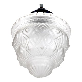 Schneider Style French Art Deco Frosted White Glass Pendant Fixture