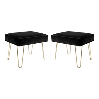 Petite Brass Hairpin Ottomans in Noir Velvet by Montage