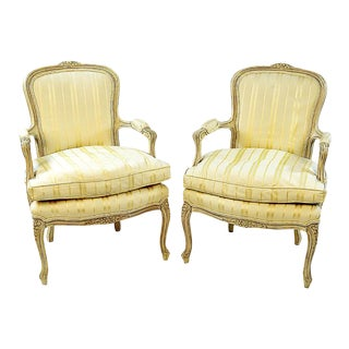 Vintage Louis XV Style Upholstered Bergere Chairs - A Pair