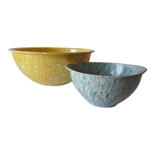Mid-Century Melmac Confetti Yellow Blue Mixing Bowls - A Pair