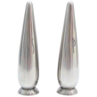 Danish Modern Stainless Steel Salt & Pepper Shakers - A Pair