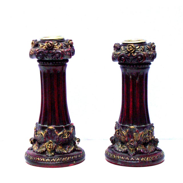 Neoclassical Italian French Gold Red Candlesticks - Image 1 of 10