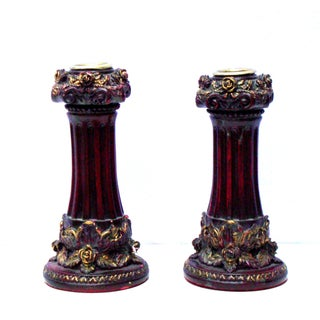 Neoclassical Italian French Gold Red Candlesticks