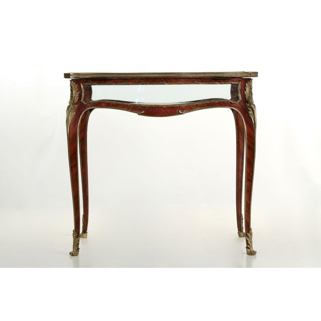 19th Century French Antique Bronze Side Table w/ Vitrine Display Case - Image 5 of 10