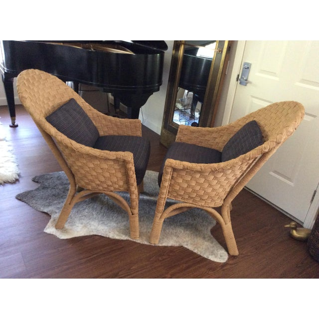 Woven Bistro Chairs With Cushions - A Pair - Image 3 of 5