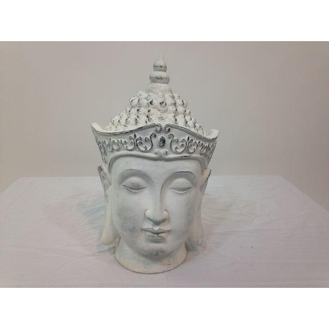Large Plaster Buddha Head Statue - Image 2 of 4