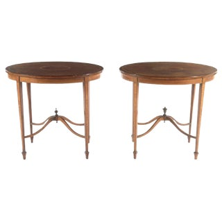 1910 Edwardian English Mahogany Banded Side Tables - A Pair