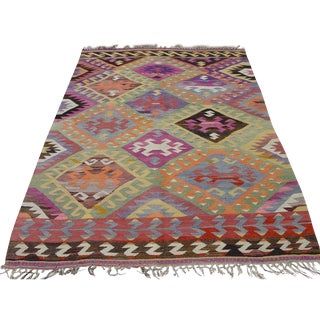 "Vintage Handwoven Turkish Kilim Rug - 5'6"" x 7'10"""