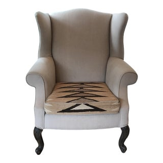 Vintage Wingback Chair Linen & Navajo Rug
