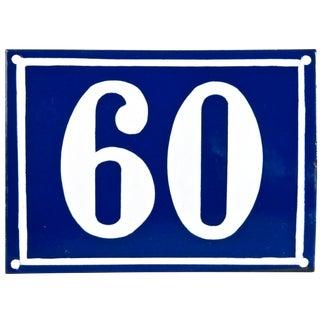 "Vintage French ""60"" Enamel House Number"