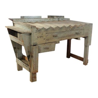 Unusual Antique Printer's Working Wood Table/Desk
