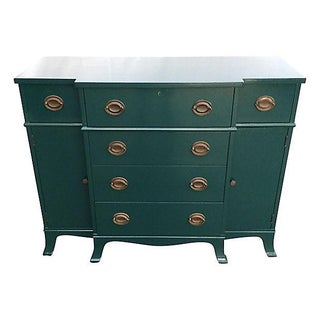 Teal Lacquered Secretary Desk