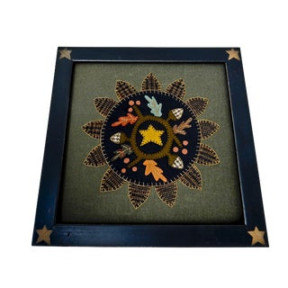 "Vintage Framed Felt Applique - 16.25"" x 16.25"""