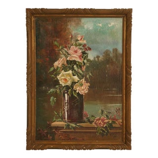 c.1928 Pair of Rose Still Life Paintings