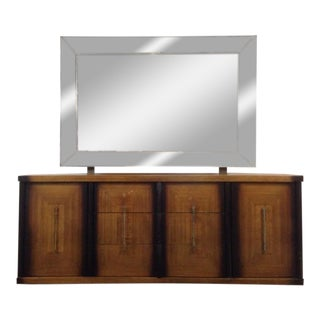 Mid-Century Modern Two-Tone Carved Maple Dresser with Mirror