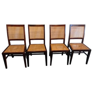 Crate & Barrel Cane Dining Chairs - Set of 4