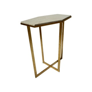 Gold Leaf with Travertine Top- Drink Table
