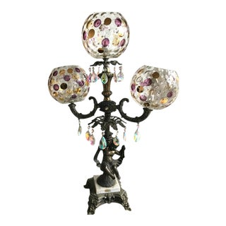 Italian Three Globe Crystal Table Lamp