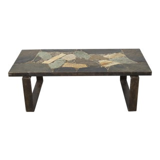 Rectangle Stone Mosaic Coffee Table with Mod Steel