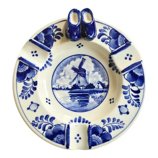 Delfts Ram Holland Hand Painted Blue Ashtray
