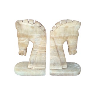 Vintage Marble Horse Bookends