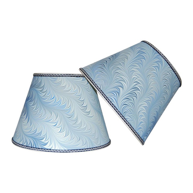 Image of Italian Blue & White Marble Lampshades - A Pair